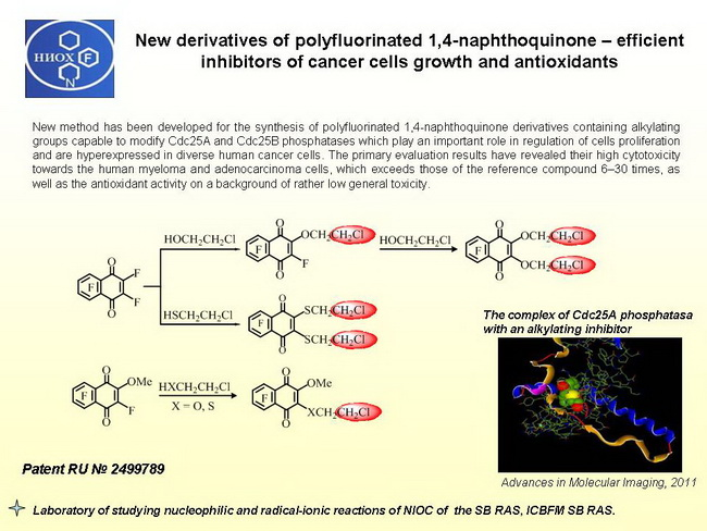 New derivatives of polyfluorinated 1,4-naphthoquinone – efficient inhibitors of cancer cells growth and antioxidants